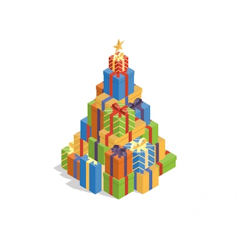Куча красочных подарочных коробок в форме рождественской елки