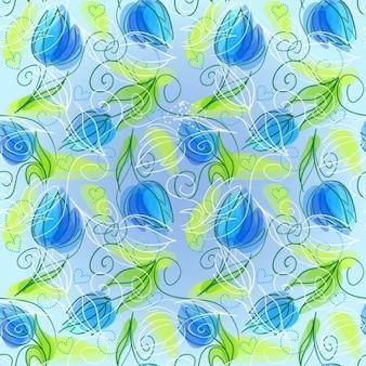 抽象的な花のシームレスなベクトルの背景