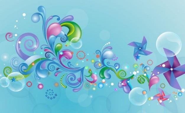 青い背景にベクトルグラフィック上に抽象的な色のデザイン