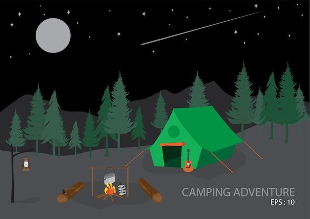 キャンプの冒険フラット。