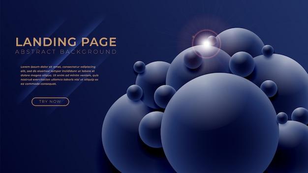最小限の形状と幾何学的背景ビジネスウェブサイトデザインのランディングページテンプレート