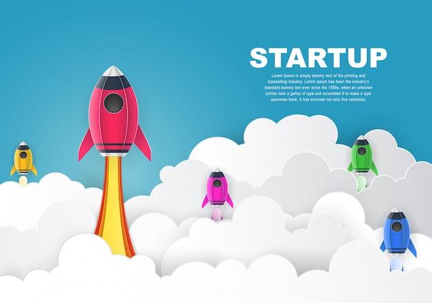 Концепция запуска ракеты космической бумаги художественный стиль, запуск концепции бизнеса и разведки идея