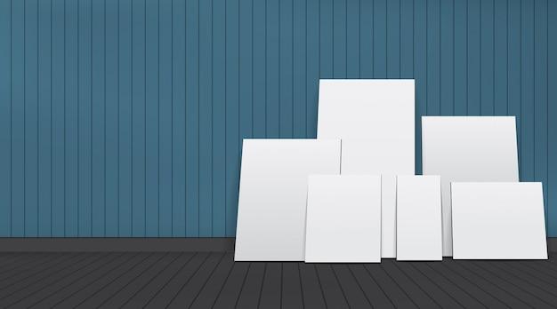 部屋に白い空白の写真フレームのセット。
