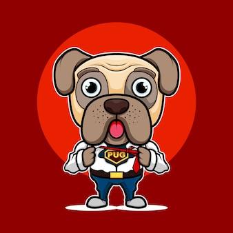 スーパーパグ犬のマスコットロゴ