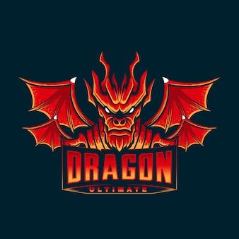 赤いドラゴンマスコット頭のロゴ