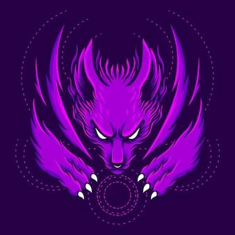 漫画のスタイルと幾何学的な図紫キツネ
