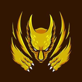 漫画スタイルのベクトル図黄色いオオカミ