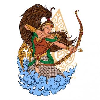 Иллюстрация традиционный лучник девушка
