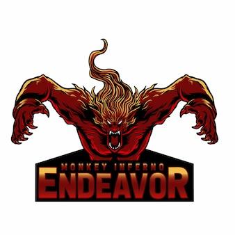 Талисман логотип обезьяна злой с текстом