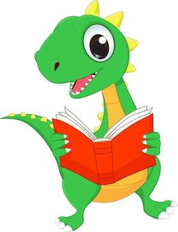 かわいい漫画恐竜は本を読んで