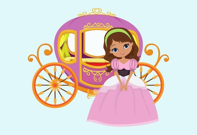 Счастливая принцесса с королевским экипажем