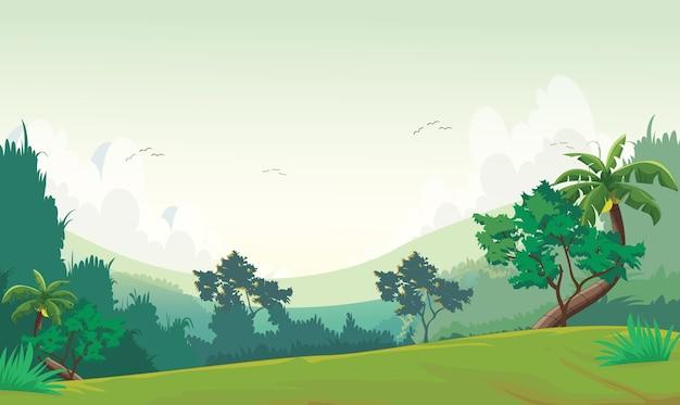昼間の森の風景のイラスト