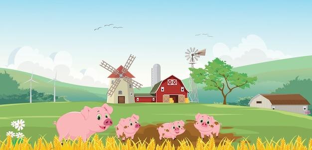 農場で幸せな豚の家族のイラスト