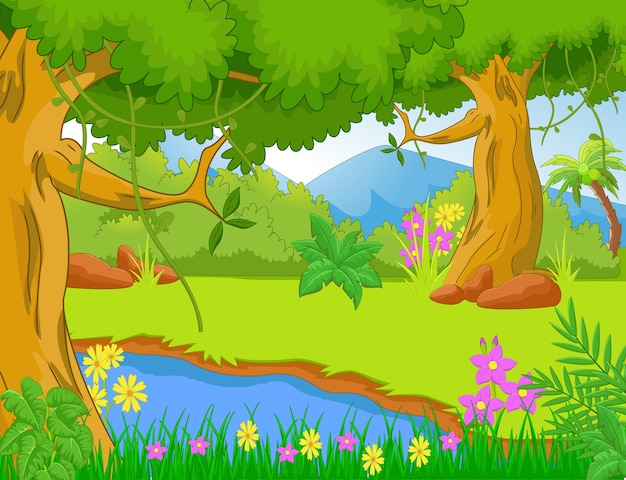 木と植物のジャングルのイラスト