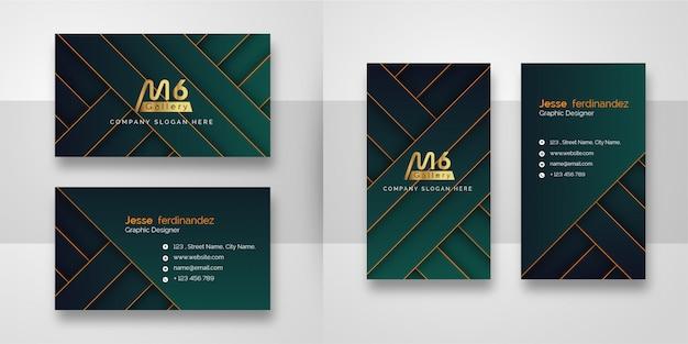 Шаблон визитной карточки абстрактный зеленый и золотой линии