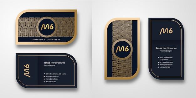 Шаблон визитной карточки абстрактный роскошный золотой узор