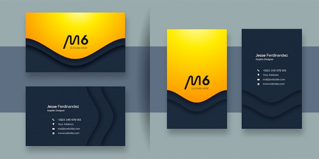Профессиональный шаблон визитной карточки желтого цвета
