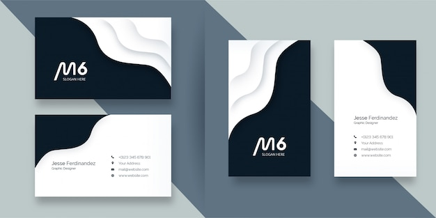 Абстрактный стиль бумаги вырезать белый и синий шаблон визитной карточки