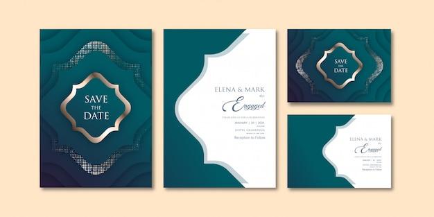 Роскошная зеленовато-голубая тема геометрического слоистого приглашения шаблон