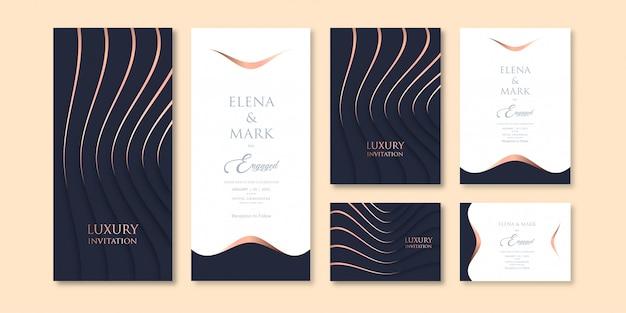 Шаблон приглашения темы темного цвета в роскошном стиле с тремя вариациями