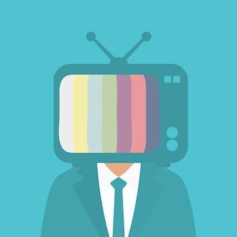 男の頭のテレビ