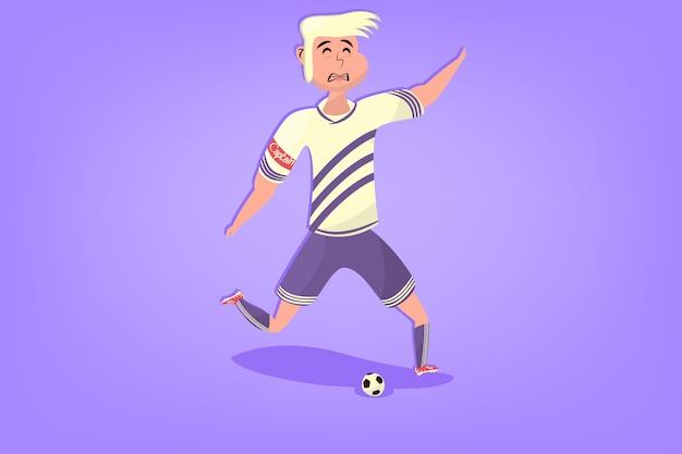 平面のボールを持つコミックサッカープレーヤー