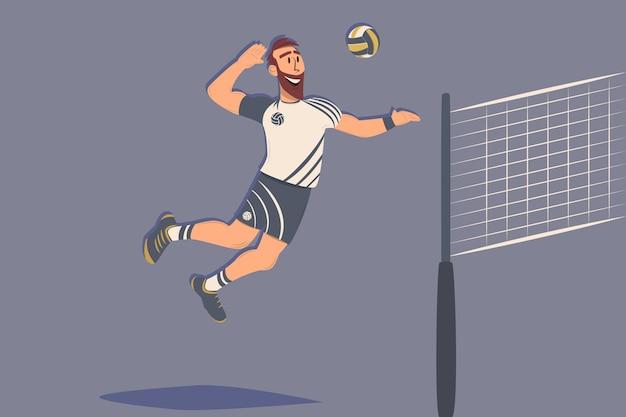 ボールを持つ漫画バレーボール選手