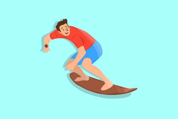 サーフィンの少年