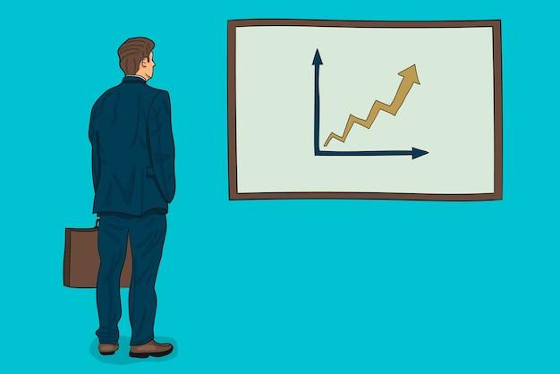 ビジネスマンと矢印のグラフィック