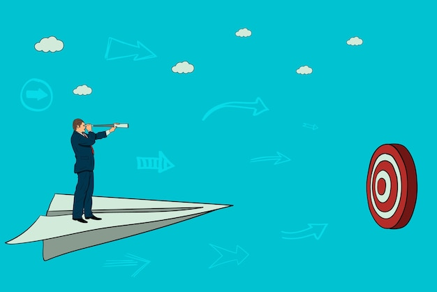ビジネスマンは、ターゲットに紙飛行機で飛ぶ