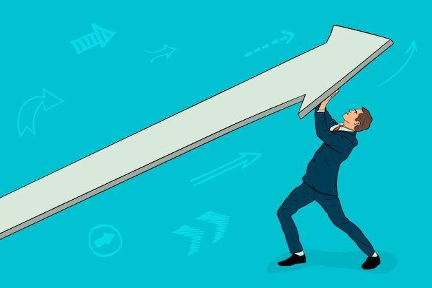 ビジネスマンは矢を上に向けます