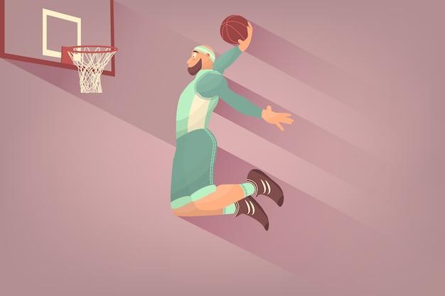 フラットなボールを持つコミックバスケットボール選手