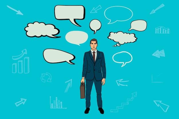 ビジネスマンと会話バブル