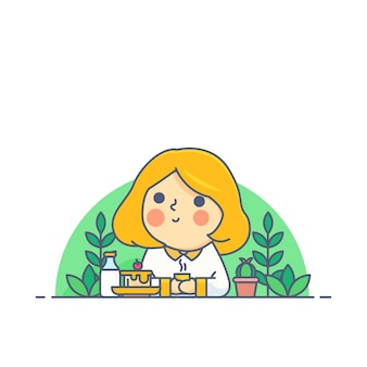 Девушка ест торт и пьет кофе и молоко в цветочном дереве