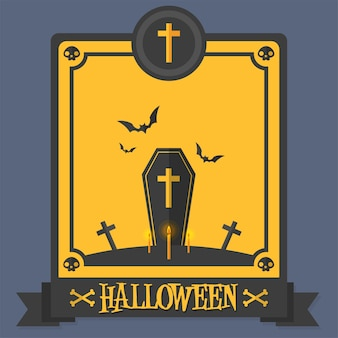 ハロウィンポスター棺のベクトル図
