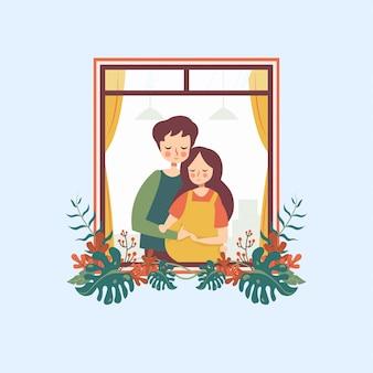 妊娠中の女性を抱き締める男