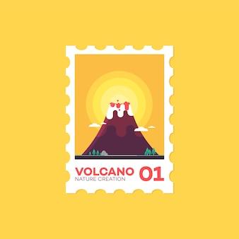 郵便切手火山フラットかわいいスタイルのアイコンのベクトル図