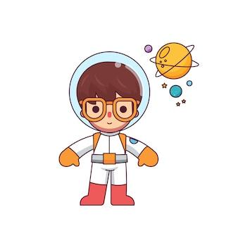 かわいい男の子宇宙飛行士キャラクターフラットラインミニマリストスタイル