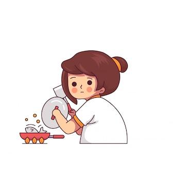 おかしい女性が台所で料理をするかわいいキャラクター