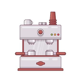 コーヒーマシンのレトロなアイコン最小限のフラットラインデザインベクトルイラスト