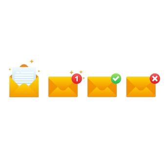 Почта набор градиента стиль иллюстрации на изолированных фоне