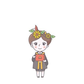 お祝いの女のキャラクターかわいい成功の教育のベクトル図