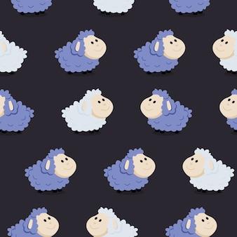 Симпатичные бесшовные модели с овцами