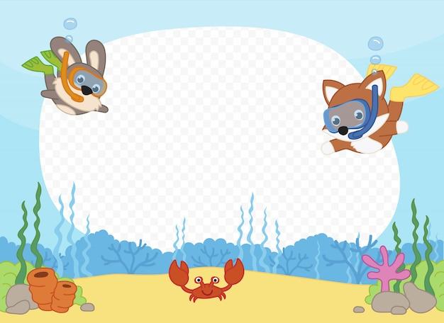 シュノーケリングの練習海で友達とフォトフレーム