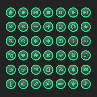 Набор мультимедийного значка, установленного во флуоресцентной модели.
