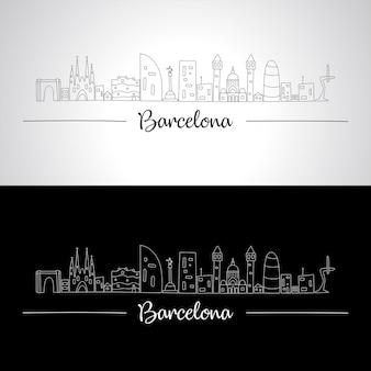 バルセロナのすべての有名な建物のスカイライン