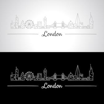 すべての有名な建物のロンドンスカイライン