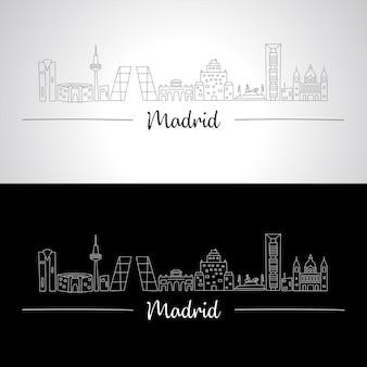 すべての有名な建物とマドリードのスカイライン