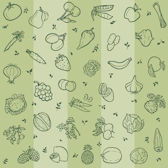 果物や野菜のラインアートとのシームレスなパターン