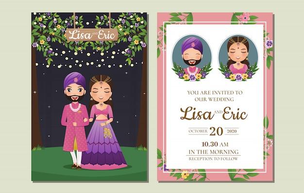 結婚式の招待カードの伝統的なインドのドレスの漫画のキャラクターの新郎新婦のかわいいカップル